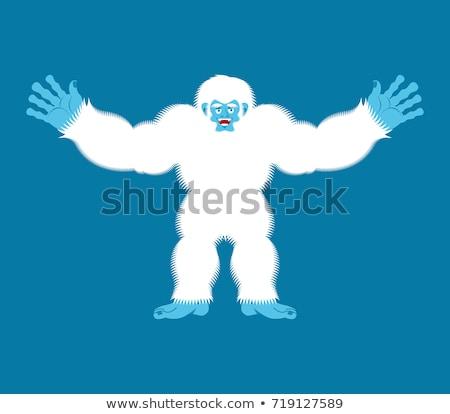 Bigfoot joyful. Yeti cheerful. Abominable snowman happy. Vector  Stock photo © popaukropa