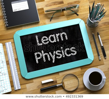 Wenig Tafel lernen Physik 3D handschriftlich Stock foto © tashatuvango
