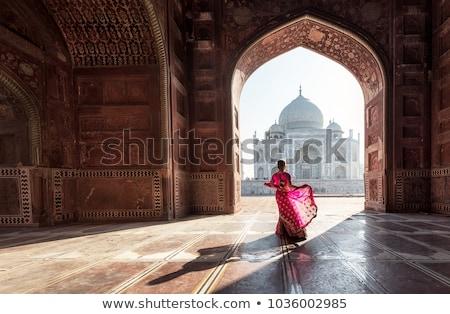 Taj Mahal coucher du soleil panoramique vue réflexion eau Photo stock © szefei