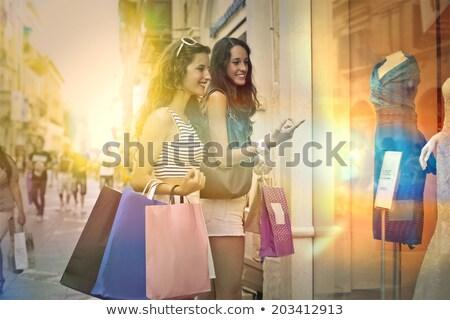 Csoport barátok vásárlás piac nő pár Stock fotó © IS2