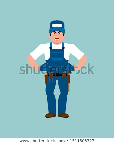 plumber angry fitter evil service worker serviceman aggressive stock photo © popaukropa