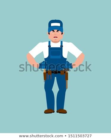 Fontanero enojado mal servicio trabajador agresivo Foto stock © popaukropa