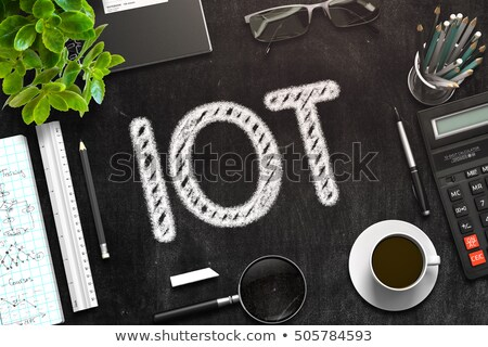 Stock photo: Black Chalkboard with IOT. 3D Rendering.