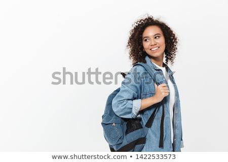 feliz · mulher · mochila - foto stock © deandrobot
