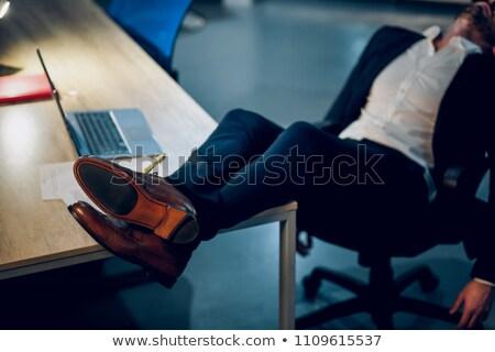 üzlet · láb · barna · bőr · cipők · rövid - stock fotó © is2