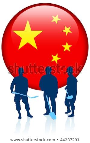 Chinese communist werknemer pop art retro hand Stockfoto © studiostoks