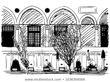 turkish muslim men praying in suleymaniye mosque stock photo © artjazz