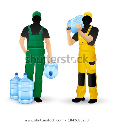 Foto stock: Masculino · silhuetas · trabalhando · entrega · água · potável · homens