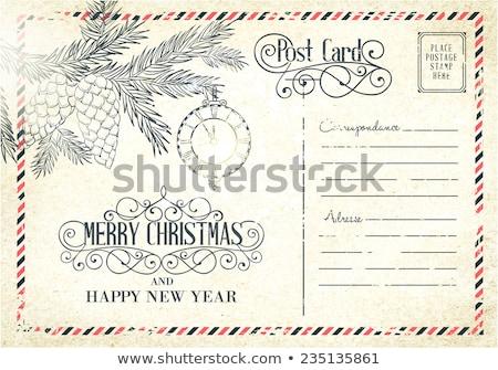Vintage cartão postal natal vela vetor aquarela Foto stock © Sonya_illustrations