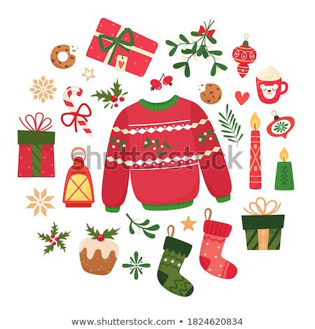 черный · красный · Рождества · украшения · белый - Сток-фото © articular