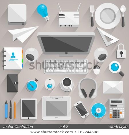 szett · fekete · oktatás · ikonok · fehér · vékony - stock fotó © freesoulproduction