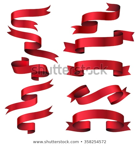 red shiny curved ribbons set stock photo © studioworkstock