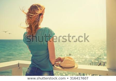 Kadın rüya plaj gökyüzü gün batımı yaz Stok fotoğraf © armstark