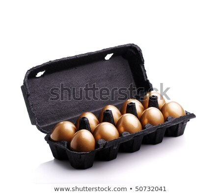 close-up view of shiny golden easter egg in nest isolated on white Stock photo © LightFieldStudios