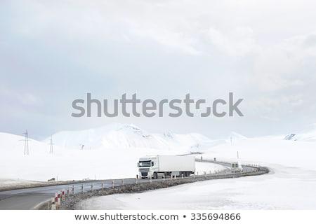 Autó tél hegyek út Grúzia felhők Stock fotó © joyr