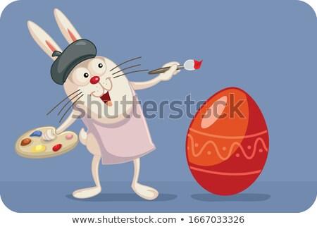Gülen yumurta karikatür maskot karakter boya fırçası Stok fotoğraf © hittoon