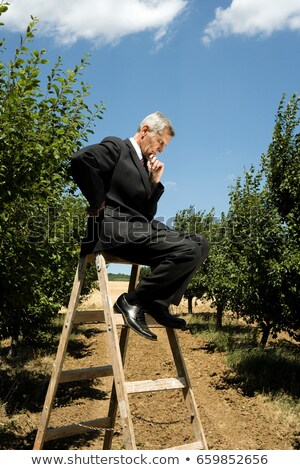 Man sitting on ladder holding his chin Stock photo © IS2