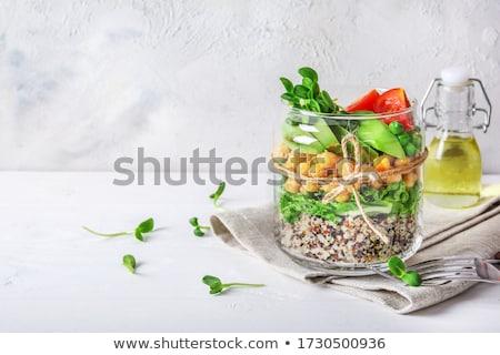 Salad in glass jar with quinoa Stock photo © Melnyk