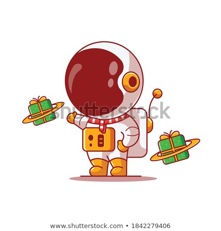 Kosmonaut geschenkdoos witte pop art retro Stockfoto © studiostoks