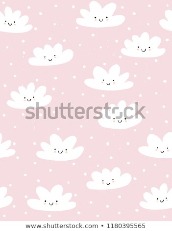 Light pink baby snowy clouds seamless vector pattern. Stock photo © yopixart
