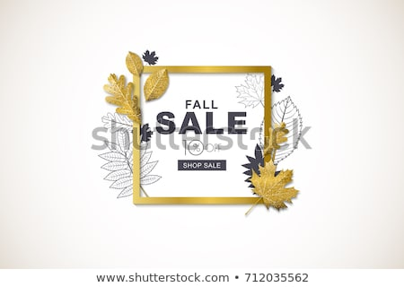 Autumn Discount Poster With Leaves Stock photo © barbaliss
