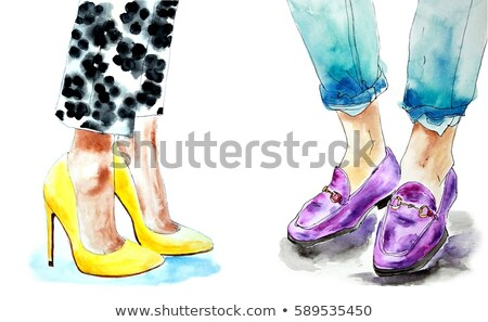 Legs of a girl in classic black high-heeled shoes and jeans near a female hand holding an elegant pi Stock photo © artjazz