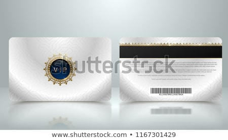 Vector template of membership or loyalty silver metallic VIP card with luxury geometric pattern Stock photo © Iaroslava