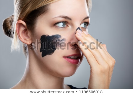 gülen · genç · kadın · kömür · yüz · maske · gri - stok fotoğraf © andreypopov
