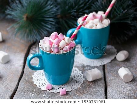 Karácsony fenyőfa forró csokoládé mályvacukor üdvözlőlap csésze Stock fotó © karandaev