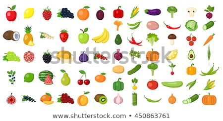 Vegetarian Food, Vegetables Set Color Vector Icons Stock photo © robuart