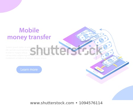 Mobile money transfer isometric flat vector concept. Stock photo © TarikVision