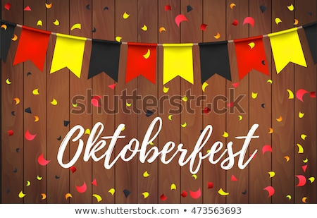 Stock photo: Oktoberfest Banner Illustration With Bavaria Party Flags And Typography Lettering And On Vintage Woo