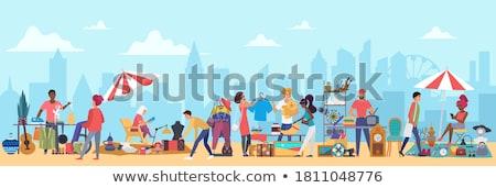 Piactér vásár plakátok szett telefon alkalmazás Stock fotó © robuart
