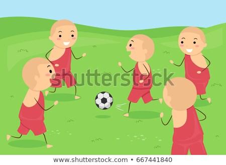 Stok fotoğraf: çocuklar · erkek · keşiş · futbol · örnek · çocuk