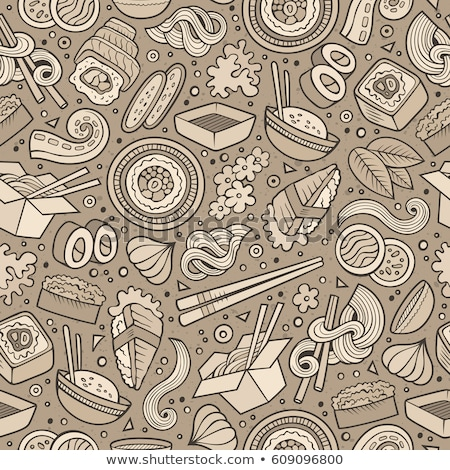 cartoon cute doodles hand drawn japan food seamless pattern stock photo © balabolka