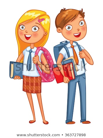 Girl, Child, Kid, Teen Vector. Little. Funny. Junior. Friendly. Face Emotions, Various Gestures. Ani Stock photo © pikepicture
