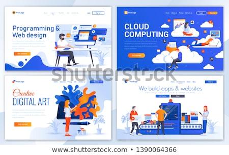 Wolke Management Kopfzeile Banner Entwickler Zeichnung Stock foto © RAStudio