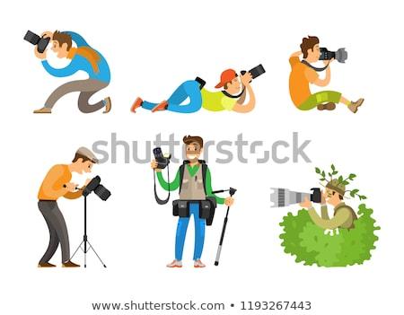 fotós · fényképezőgépek · állvány · fekete · sziluett · fehér - stock fotó © robuart