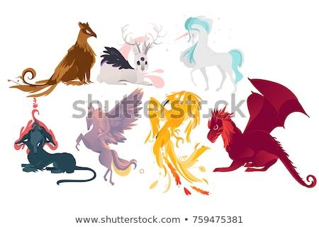 Cartoon феникс знак иллюстрация огня Сток-фото © cthoman