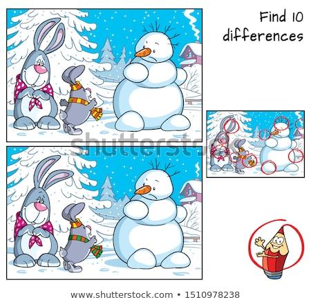 Diferencias juego ninos color libro blanco negro Foto stock © izakowski