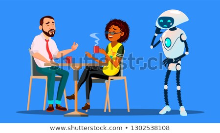 People Hanging Together In Restaurant And Ignoring Sad Robot Staying Alone Vector. Isolated Illustra Stock photo © pikepicture