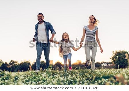 Stockfoto: Vader · tijd · dochter · zonsondergang · hemel · familie