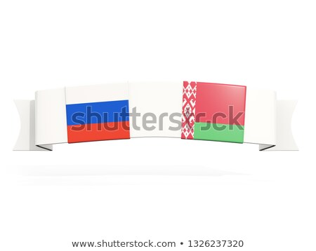 banner with two square flags of russia and belarus stock photo © mikhailmishchenko