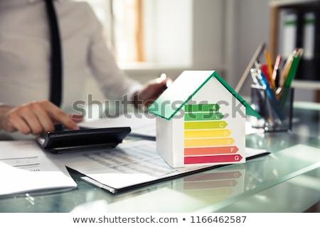 Ház modell mutat energiahatékonyság gyakoriság közelkép Stock fotó © AndreyPopov