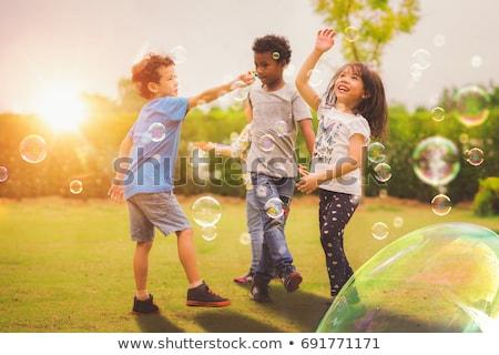 детей играет весело площадка иллюстрация дерево Сток-фото © colematt