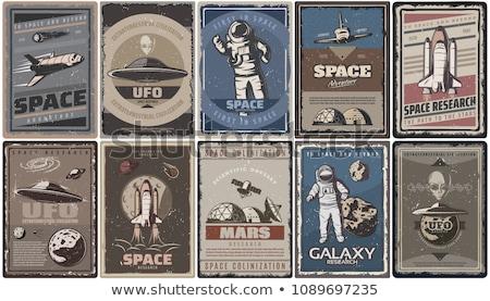 Kleur vintage ufo banner ontwerp communie Stockfoto © netkov1