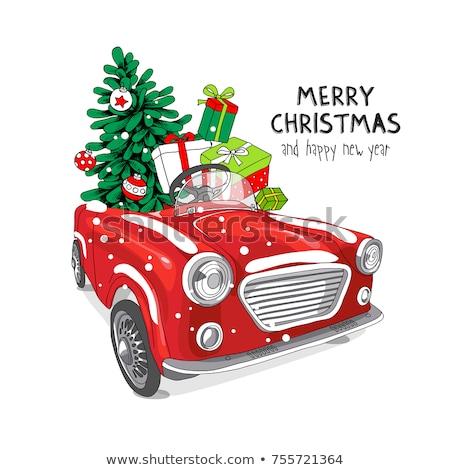 Neşeli Noel kartpostal hediye kutuları hediyeler Stok fotoğraf © robuart