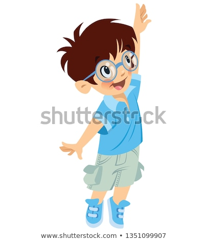 Happy cute boy pupil with glasses trying to reach something Stock photo © Thodoris_Tibilis