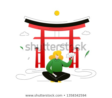 Visitar Japão colorido projeto estilo ilustração Foto stock © Decorwithme