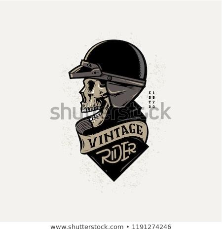 Kafatası kask kroki İngiliz anahtarı tekerlek Stok fotoğraf © netkov1